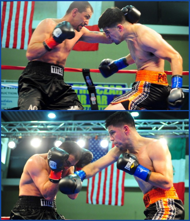(top photo) In Bout #4, you could see how David Barragan (r) was loading up with these left hooks and left uppercuts to try and stop the durable Eddie Cordova of Clearfield, Utah.