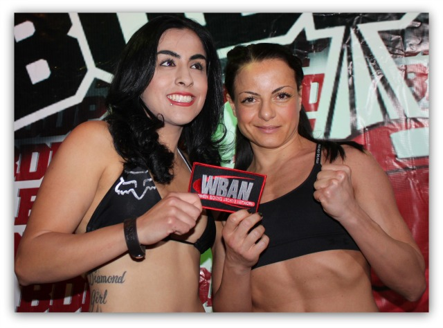 "At the conclusion of their weigh-ins, Amaris ""Diamond Girl"" Quintana (l) and Susan Reno (r) pose for photos."