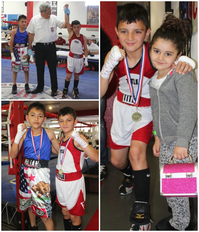 (bottom, left) At the conclusion of Bout #3, the winner Julius Ballo (r) poses for a photo with his opponent Julian Rojas (l). (photo, right) Julius Ballo poses for a photo with his younger sister.