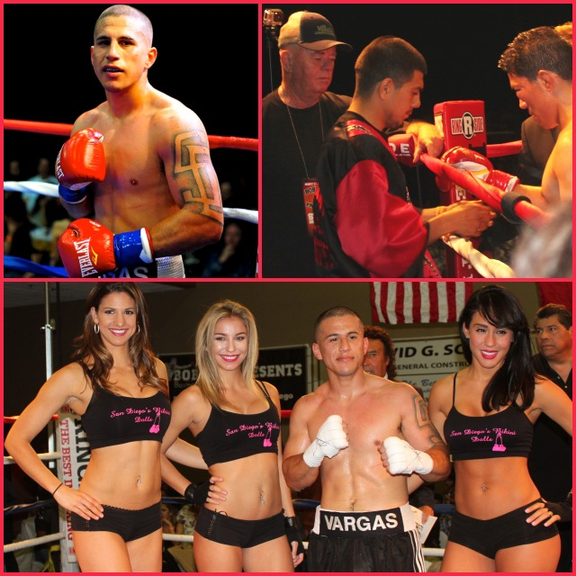 (top, right) We see Luis Cervates being attended to by his corner after his fight against Adrian Vargas was stopped.