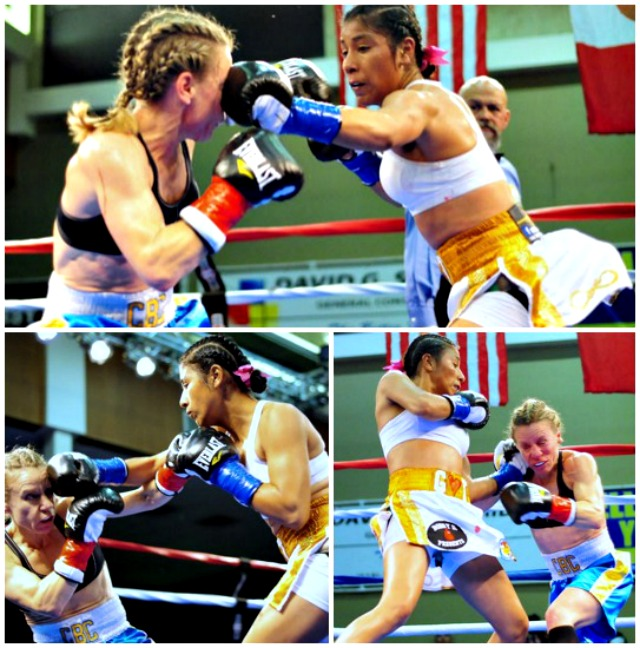 (top, left) The onslaught of punches by Kenia Enriquez of Tijuana (r) began early in rounds two and three. Photos: Paul Gallegos