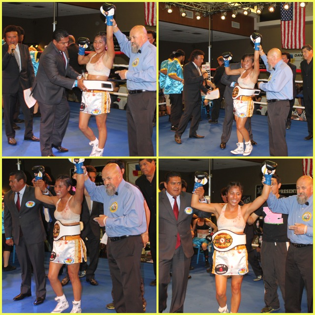 At the conclusion of her bout against Jolene Blackshear, the victorious, Kenia Enriquez (c) has her arm raised by veteran referee Jose Cobian (r) and has the belt attached by the President of the Tijuana Boxing Commission Juan Carlos Pelayo (l).