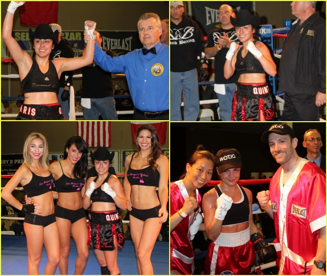 (top, left) At the conclusion of her bout with Susan Reno, Amaris Quintana has her arm raised in victory by referee Tony Crebs. (bottom, right) After her tough battle with Quintana, Susan Reno poses for a photo with her husband Mike and friend. Photos: Jim Wyatt