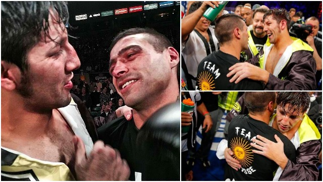 (left) At the conclusion of their memorable bout, both John Molina (l) and Lucas Matthysse (r) congratulate one another on their fine performance. Photo: Joe Scarnici/Getty Images