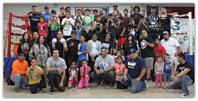 Not  everybody, but  almost everybody gathered around for this group photo, Wednesday, April 23, 2014 at the Barrio Station Recreation Center in San Diego. Photo: Jim Wyatt
