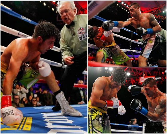 Lucas Matthysse delivers a knockout punch to John Molina in the 11'th round during their fight at StubHub Center on April 26, 2014 in Los Angeles, California. (Photo by Joe Scarnici/Getty Images)