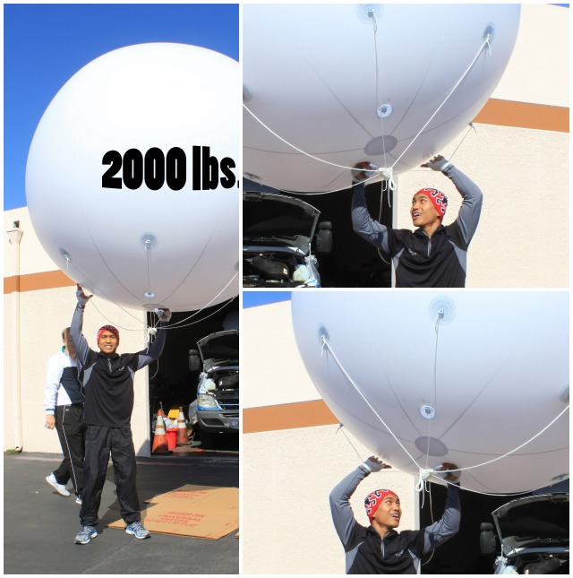 Together with a neighbor from across the way, Gesta invented a brand new exercise to help with his balance. The label insinuating that the big balloon weighs 2,000 lbs. is a lighthearted attempt to be humorous.
