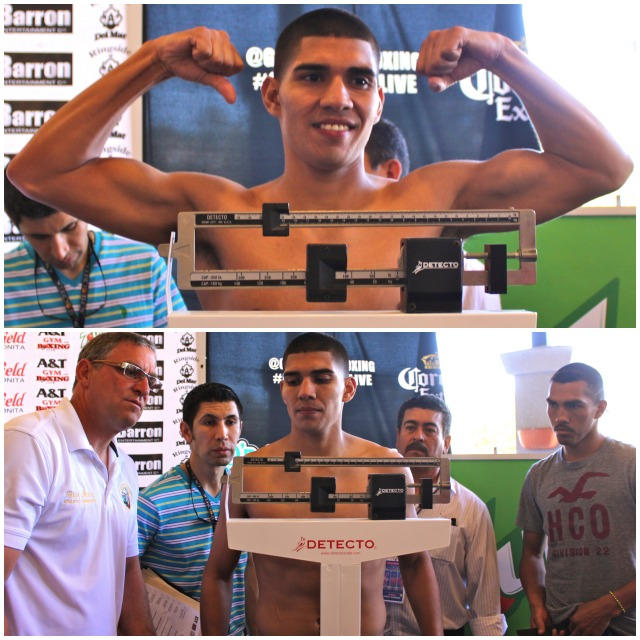 (top) Antonio Orozco poses for photos at Wednesday's weigh-ins at the Bonita Mall. When you think about it, it's been almost five years since Orozco has performed in San Diego in front of family and friends.