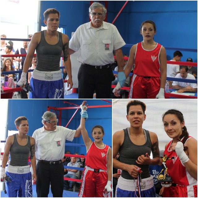 In Bout #11, it was 34 year-old Andrea Iniquez of the Alliance Training Center, Chula Vista (123 pounds) getting the TKO victory over 21 year-old Estela Vargas (115 pounds) of the Bound Boxing Academy who was making her Amateur debut.