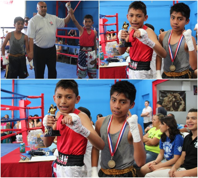 In Bout #15, it was 11 year-old Esteban Rojas of the Bound Boxing Academy (75 pounds) getting the best of 12 year-old Gregory Leal of the Intensity MMA Gym (75 pounds).
