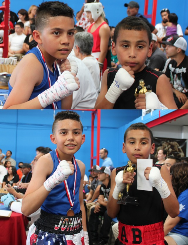 Abraham Gallegos (8-6) of the Garcia Boxing Team from the Broadway Boxing Gym in Los Angeles (67 pounds) getting the decision over 12 year-old southpaw Juan Medina of the Bound Boxing Academy,