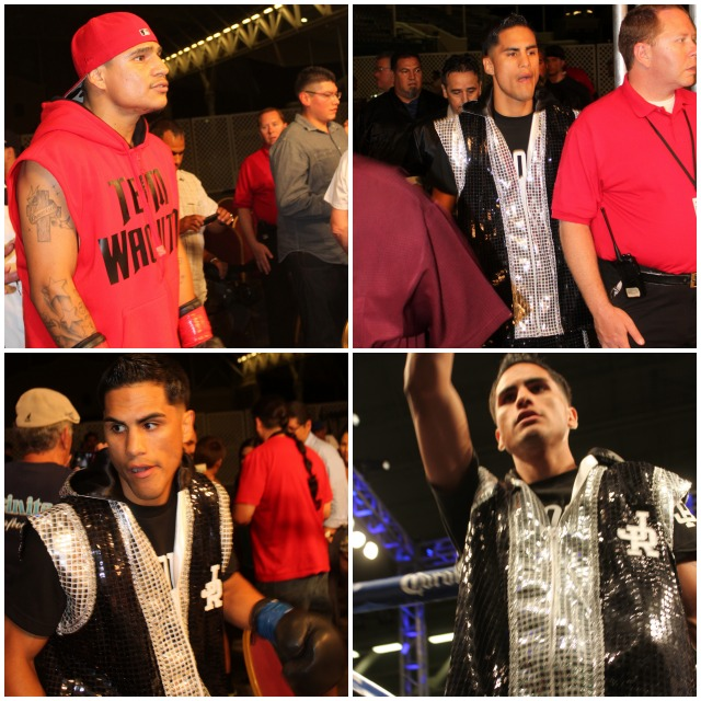 (top, left) Making his way to the ring is Walter Santibanes of Phoenix, Arizona. (below, right) Before entering the ring, Jorge Ruiz salutes his support group.
