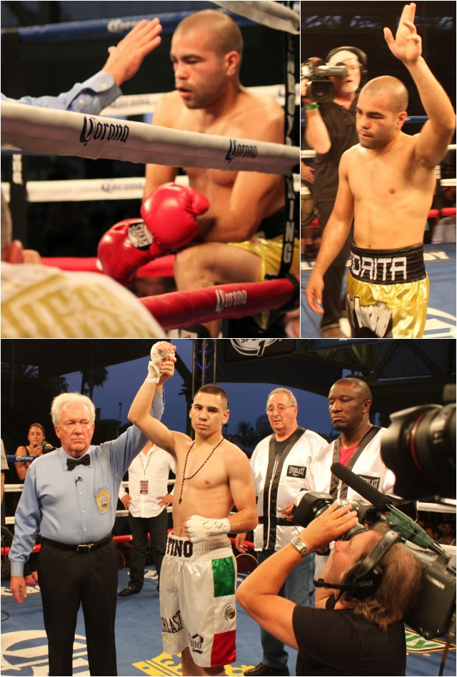 (bottom) At the conclusion of his fight versus David De La Mora, Manuel Avila has his arm raised by referee Pat Russell. Photos: Jim Wyatt