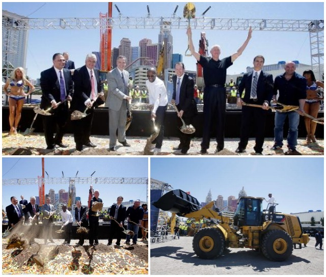 (l-r) Golden Boy Promotions CEO Richard Schaefer, Clark County Commissioner Steve Sisolak, MGM Resorts Chairman /CEO Jim Murren, WBC welterweight champ Floyd Mayweather Jr., President/CEO of AEG Dan Beckerman, sportscaster Bill Walton, President of business operations for the Los Angeles Kings Luc Robitaille and UFC President Dana White shovel dirt during the groundbreaking ceremonies for the USD $375 million, 20,000-seat sports and entertainment arena being built by MGM Resorts International and AEG on May 1, 2014 in Las Vegas, Nevada. Without punching-in, we have no record of how long these gentlemen worked or how much dirt they shoveled. Not to be oudone, Mayweather returned to the site with a bulldozer.  Photo: Isaac Brekken/Getty Images for MGM Resorts