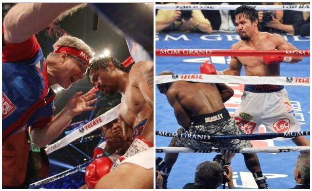 (photo, left) In between rounds  six and seven it appears Freddie Roach was giving his fighter Manny Pacquiao a wake-up call after it was obvious Timothy Bradley was gaining confidence.