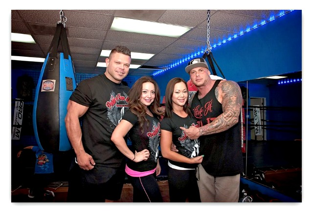 On May 17th, they celebrated the Grand Opening of the Pride of San Diego Boxing Club with music, BBQ, product discounts and boxing matches. (l to r) body builder Josh Weldon, the Wellness Center's owner Liz Acosta Ruiz, Joanna Quinn, and body builder Ryan Sasena.