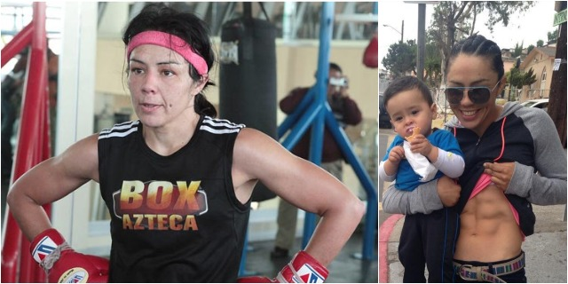 The Aztec Princess - a boxing phenom. (photo, right) While holding her nephew Alex, Jackie Nava shows off her ripped stomach (six pack) pre-fight.