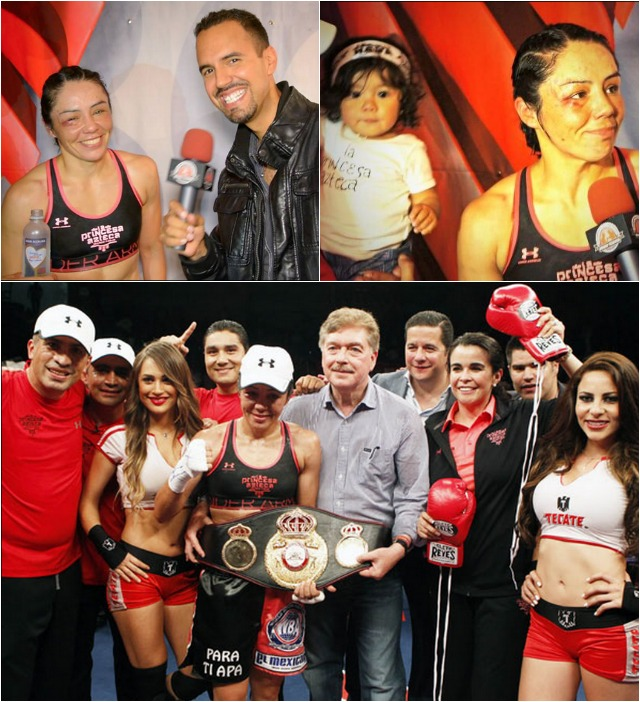 (top, left) After her triumphant return to the ring, La Princesa Azteca speaks with Renzo Novara of Boxeo Tijuana. (photo, right) shows Jackie Nava's daughter Frida Mendoza Nava.