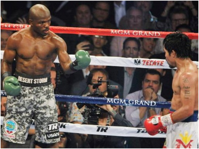 "Once Manny Pacquiao got back in his regular groove, Timothy Bradley became frustrated and made this gesture to Pacquiao, ""Come on, bringing it on!"""