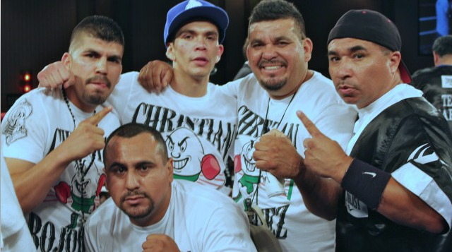 Christian Bojorquez, shown here with his support staff which includes his brother, father, trainer Joe Vargas and cutman Gamez. brother Emilio and father Emilio S returns to action after almost a full year.