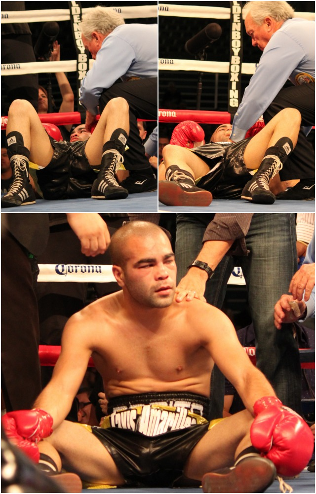 (bottom) We see the clear headed David De La Mora wondering what went wrong after being knocked off his feet three times in round #2. Photos: Jim Wyatt