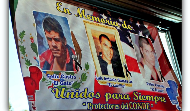 "A memorial banner was displayed at the latest USA Amateur Boxing show and on it were three beloved boxers, (l to r) Felix Castro ""El Gato"", Luis Antonio Gamez Jr., ""El Luisillo"" and Pablo Armenta, ""El Bronco"" - three extremely popular young men who passed on to their eternal reward."