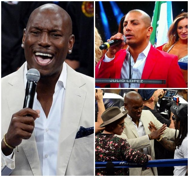 Actor/singer Tyrese Gibson sings the United States national anthem before a WBC/WBA welterweight unification fight between Floyd Mayweather Jr. and Marcos Maidana at the MGM Grand Garden Arena on May 3, 2014 in Las Vegas, Nevada. Mayweather took Maidana's title with a majority-decision victory. (Photo by Ethan Miller/Getty Images) No, that wasn't Shawn Estrada singing the Mexican national anthem.