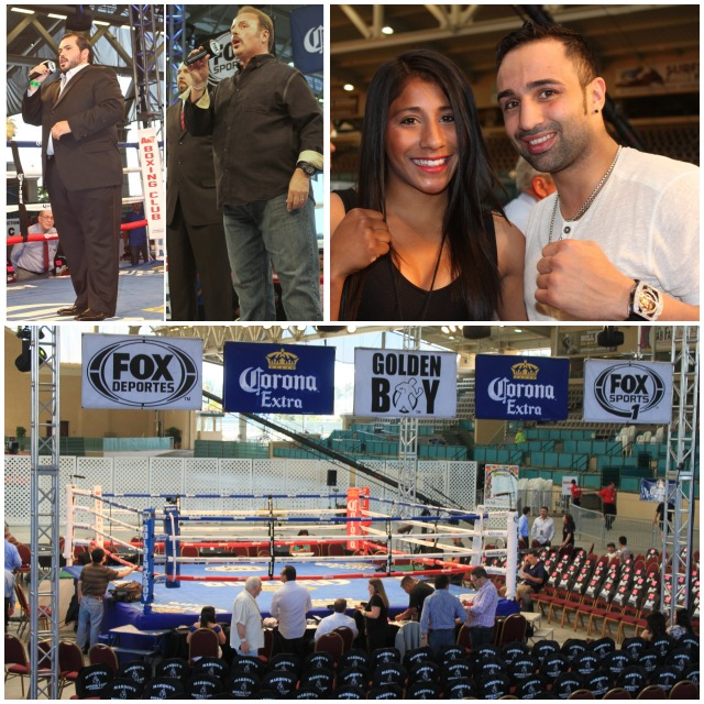 The competition continues at Del Mar as award winning tenor Gerardo Gaytan sang the Mexican National Anthem and Alejandro Amezcua sang the Star Spangled Banner. Paul Malignaggi, the former IBF Welterweight and WBA Lightweight Champion and now boxing color commentator for Fox Sports, was introduced to Tijuana's jr. Flyweight Champ Kenia Enriquez.