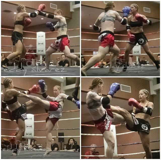 Without a doubt these two young ladies can fight. Alyshia Madison (red trunks, blue gloves) and Christine Perry (black trunks, red gloves).