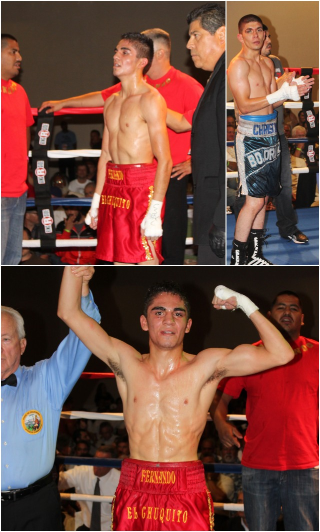 (top) Fernado Fuentes had his doubts as he awaited the verdict of the judges. (top, right) After the scores were announced, Christian Bojorquez shows good sportsmanship and claps for his opponent.