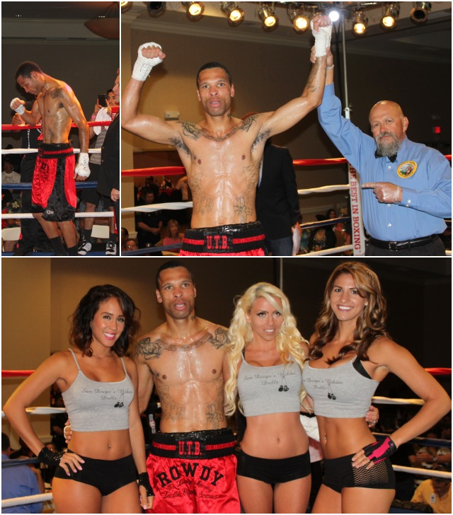 (top left) Rowdy Montgomery is ecstatic after hearing the announcement of his first pro victory. (top, right) Rowdy has his arm raised in victory by referee Jose Cobian. All photos: Jim Wyatt