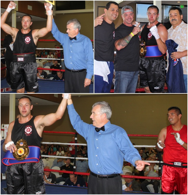 (bottom) Referee Tony Crebs raises Stiles' arm in victory while shows good sportsmanship by clapping for the victorious Mr. Stiles.