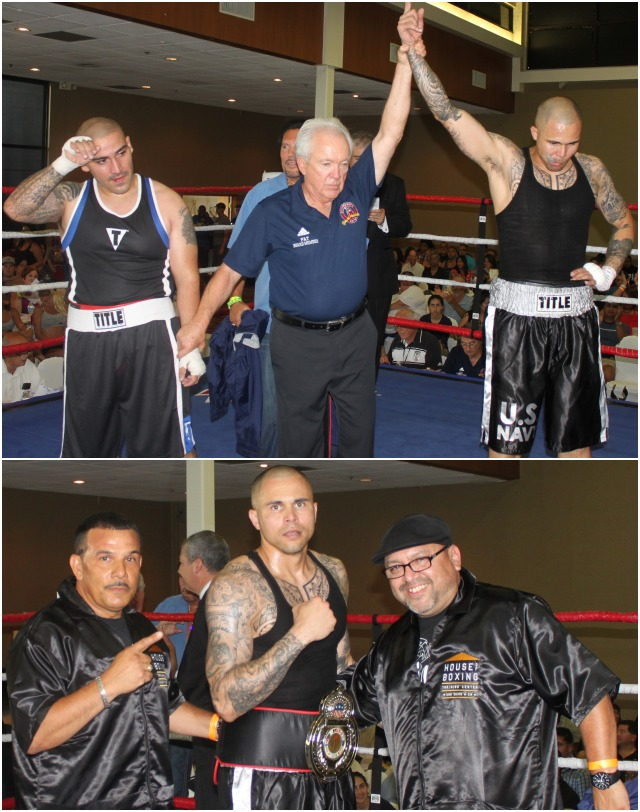 (bottom) After his victory, Jay Jay is joined by his support group Greh Diaz (l) and Carlos Barragan Jr. (r).