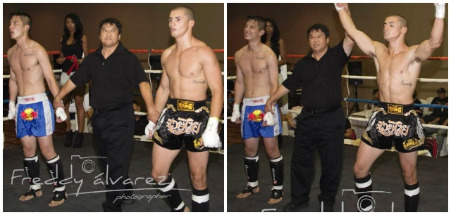 In Bout #8, it was Ian Barreda (r) being awarded the victory over Shawn Lee. Photos: Freddy Alvarez