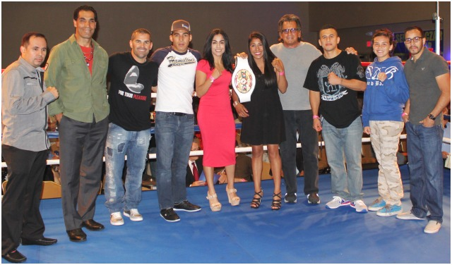 During a brief intermission many of the celebrity guests were invited up into the ring. From TV favorite Rod Luck to past and present boxers like Chris Martin, Saul Rios and Adrian Vargas.  Tijuana's Kenia Enriquez was joined by Amaris Quintana (l) and Andrea Medina (r).