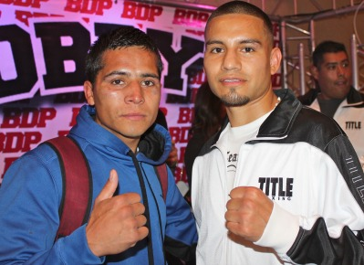 Before leaving the Crowne Plaza Hotel in San Diego, the two combatants, Victor Capaceta (l) and Smokin' Joe Perez meet up for one last photo.