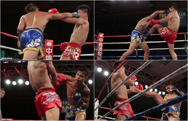 In Bout #6, it was San Diego's Marvin Madariaga (blue trunks) going up against Wei Ninghui of Bangkok, Thailand.