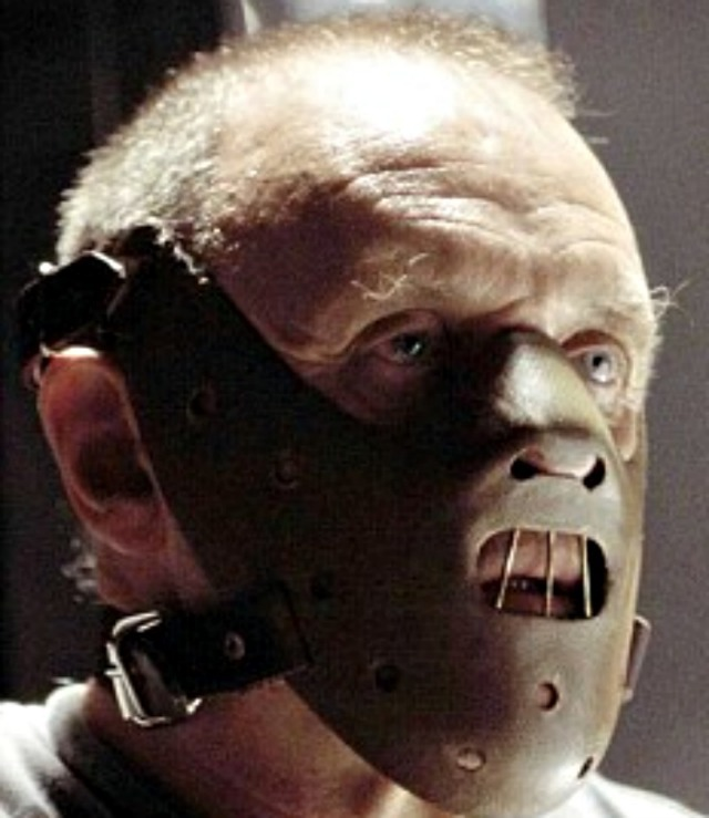 The infamous Hannibal Lecter is shown wearing the required head gear.