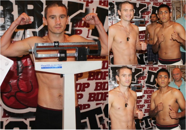 (top, right) Both Chernous (l) and Zavala (r) pose for photos after their official weigh-ins.