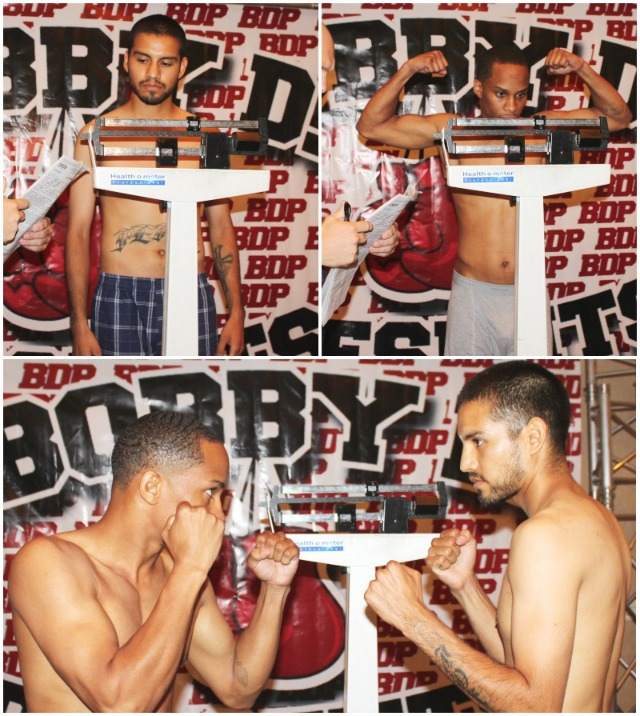 (bottom) Smokin' Joe Perez (r) and his opponent on Friday night, Gabriel Braxton (l) face off for the benefit of the cameras.