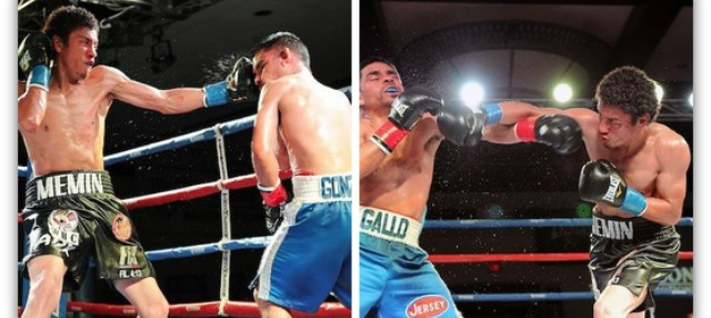 Back on February 28, 2014, Carlos Carlson of Tijuana, B. C., Mexico (black trunks) defeated   Javier Gallo of Buena Park, CA to win the WBC Latino Championship. All photos: Carlos Baeza/Thompson Boxing Promotions