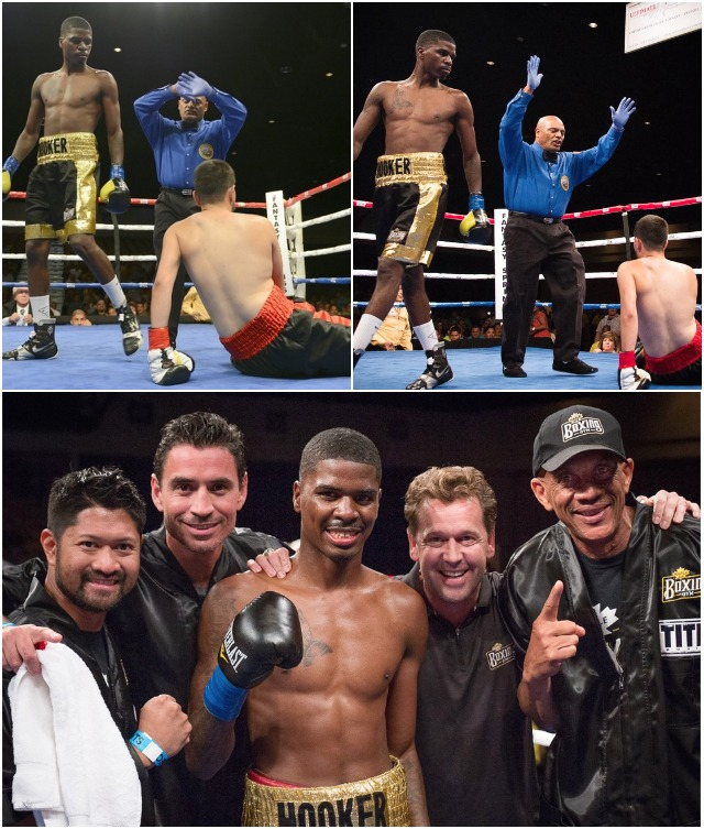 (bottom, l to r) Maurice Hooker celebrates his victory with his support staff, Manny Hernando, Vince Parra, Maurice Hooker, Arnie Verbeek and veteran trainer Ali. All photos: Stacy Verbeek