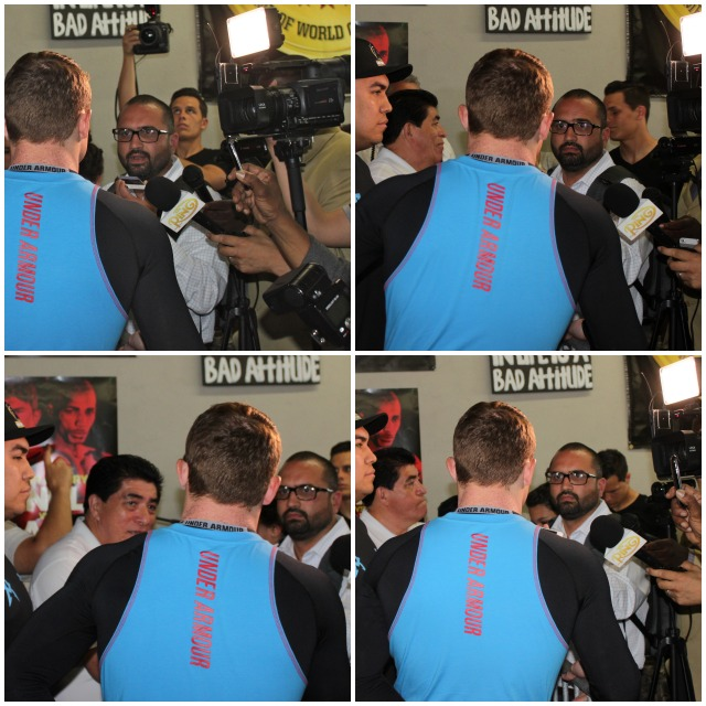 Who knows more about boxing than Felipe Leon of Fight News and Boxeo Tijuana, seen here interviewing or should we say grinding Canelo Alvarez for his thoughts. (the sign which is hanging above Leon is almost like one of those photo bombs we keep hearing about). Photo: Jim Wyatt
