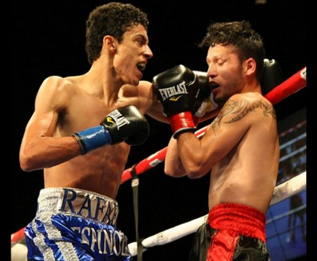 "Rafael ""El Divino"" Espinoza (4-0-0, 3 KOs) from Guadalajara, Jalisco, Mexico scoring a fifth round stoppage of 29 year-old Victor Serrano (4-6-0, 1 KO) from Ensenada, Baja California, Mexico"