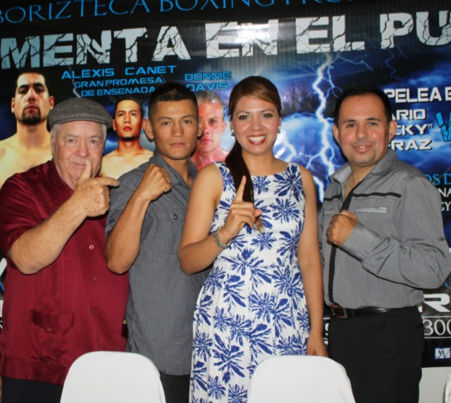 Just prior to the Friday Press Conference the  Master of Ceremonies Abedith Rico was joined by (l to r) Lou Messina, Alexis Canett's co-manager, boxer Alexis Canett and the CEO of Borizteca Boxing, Saul Rios.