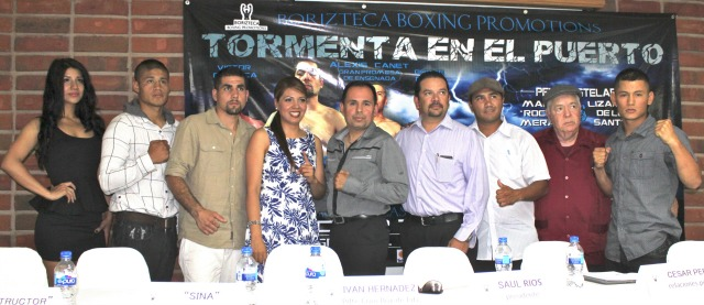 "Principles in the presentation of ""Tormento en el puerto"" translation ""Storm in the Port"". The first ever Boxing Show presented by Borizteca Boxing Management group which will take place Friday evening August 15, 2014 at the Gimanasio Oscar 'Tigre' Garcia in down Ensenada. All photos: Jim Wyatt"