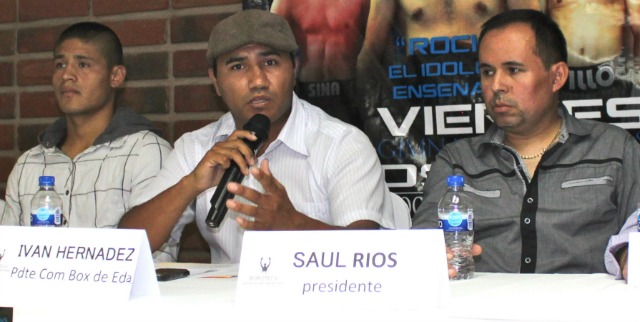 The President of the Ensenada Boxing  Commission addresses the media.