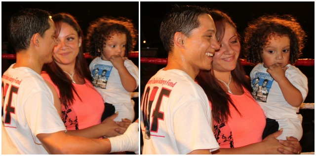 At the conclusion of Bout #6, Elvis Trujillo was joined by his lovely wife and children. As you can see they were very proud. Photo: Jim Wyatt