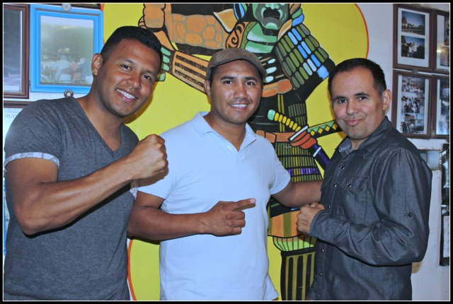 "At one of the Ensenada Boxing gyms, Saul Rios (r), CEO of the Borizteca Boxing Management Group meets with the General Manager and Ivan ""Chocko"" Hernandez (c), the president of the Ensenada Boxing Commission. All photos: Jim Wyatt"