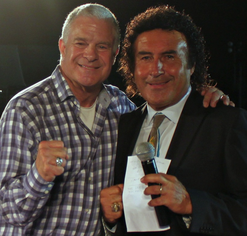 During a break in the action the popular Jim Lampley of HBO Sports joined ring announcer Benny Ricardo in the ring to add his thoughts on this wonderous event. Photo: jim Wyatt